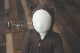 Sitter brown bear hooded romper made to order