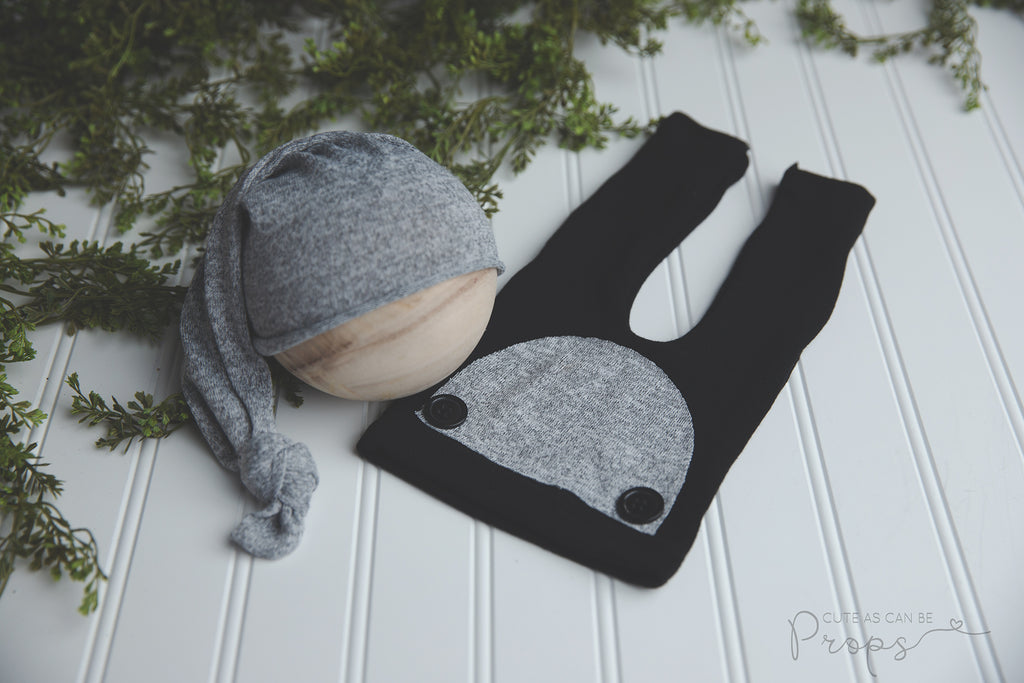 black and grey newborn pants and sleepy hat set