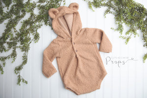 tan sitter or newborn plush curly hooded bear outfits
