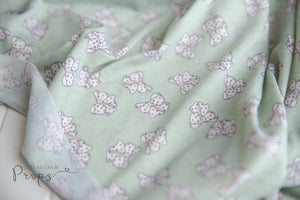 newborn sage green and bows knit wrap