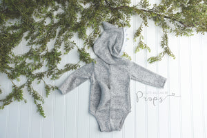 Gray newborn OR sitter shark hooded onesie