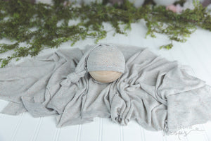 cream and gray newborn wrap and sleepy hat set 2