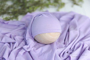 lavender newborn stretch wrap and sleepy hat set