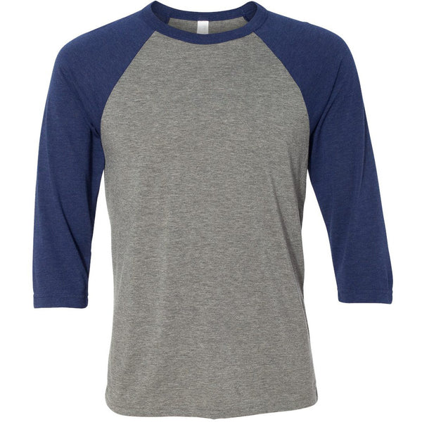 Unisex 3/4 Sleeve Baseball Tee with Truck logo- Navy/Heather