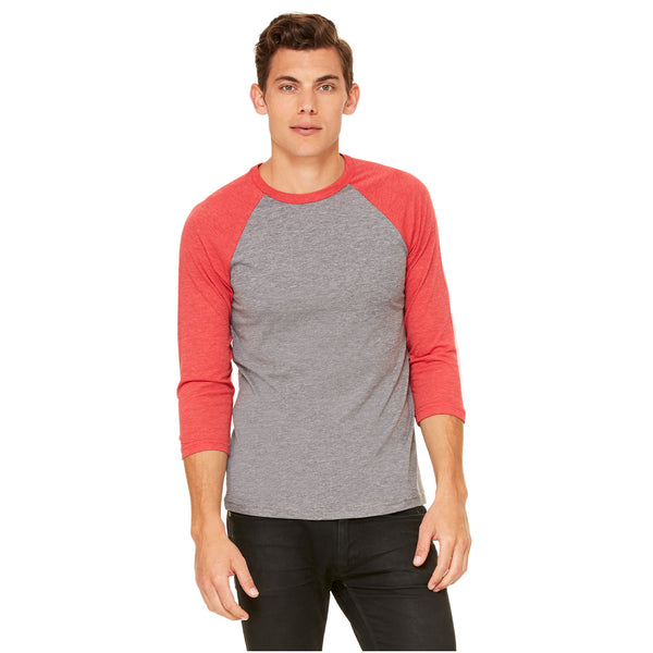 Unisex 3/4 Sleeve Baseball Tee with Truck logo- Red/Heather