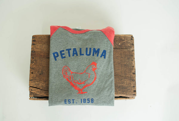 Unisex 3/4 Sleeve Baseball Tee with Chicken logo- Red/Heather