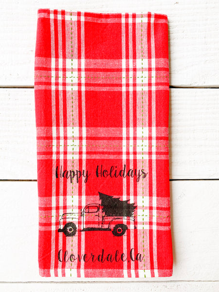 Cloverdale Happy Holidays Red Xmas Plaid Tea Towel- Luma Vintage