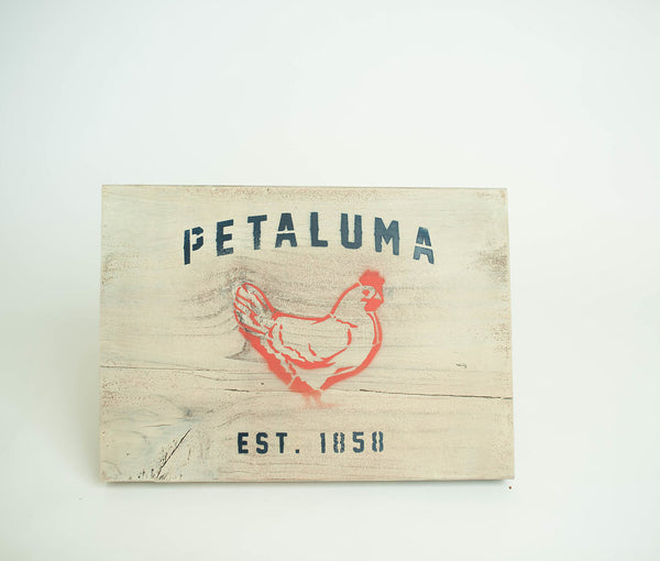 Reclaimed Luma Vintage Wood Sign with Chicken-Cream