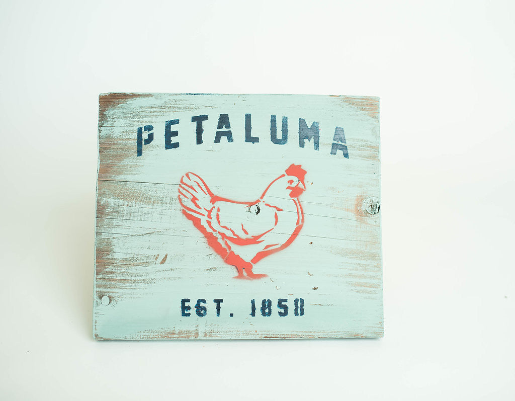 Reclaimed Luma Vintage Wood Sign with Chicken-(Color) Duck Egg
