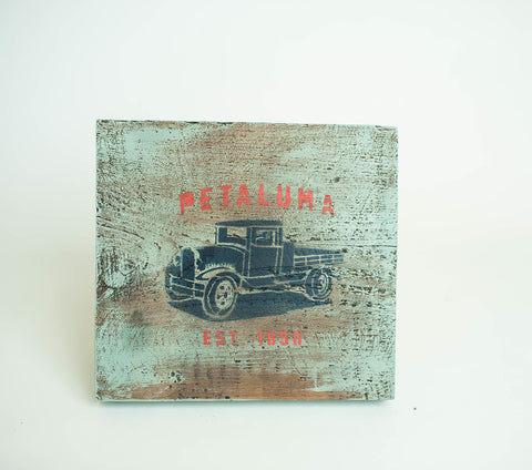 Reclaimed Luma Vintage Wood Sign with Truck-(Color) Duck Egg