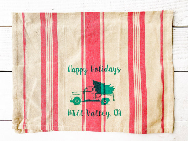 Happy Holidays Mill Valley Luma Vintage Tea Towel- Red French Stripe