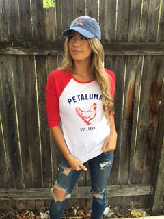 Women's Baby Rib 3/4 Sleeve Baseball Tee with  Petaluma Chicken logo White/Red