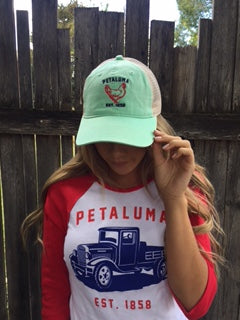 Women's Baby Rib 3/4 Sleeve Baseball Tee with  Petaluma Truck Logo White/Red