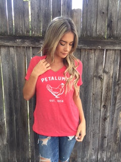Women's Relaxed Jersey Short Sleeve V-Neck Tee in Heather Red with Chicken Logo