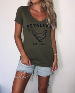 Women's  Short Sleeve V-neck Army Green with Navy Petaluma Chicken Logo