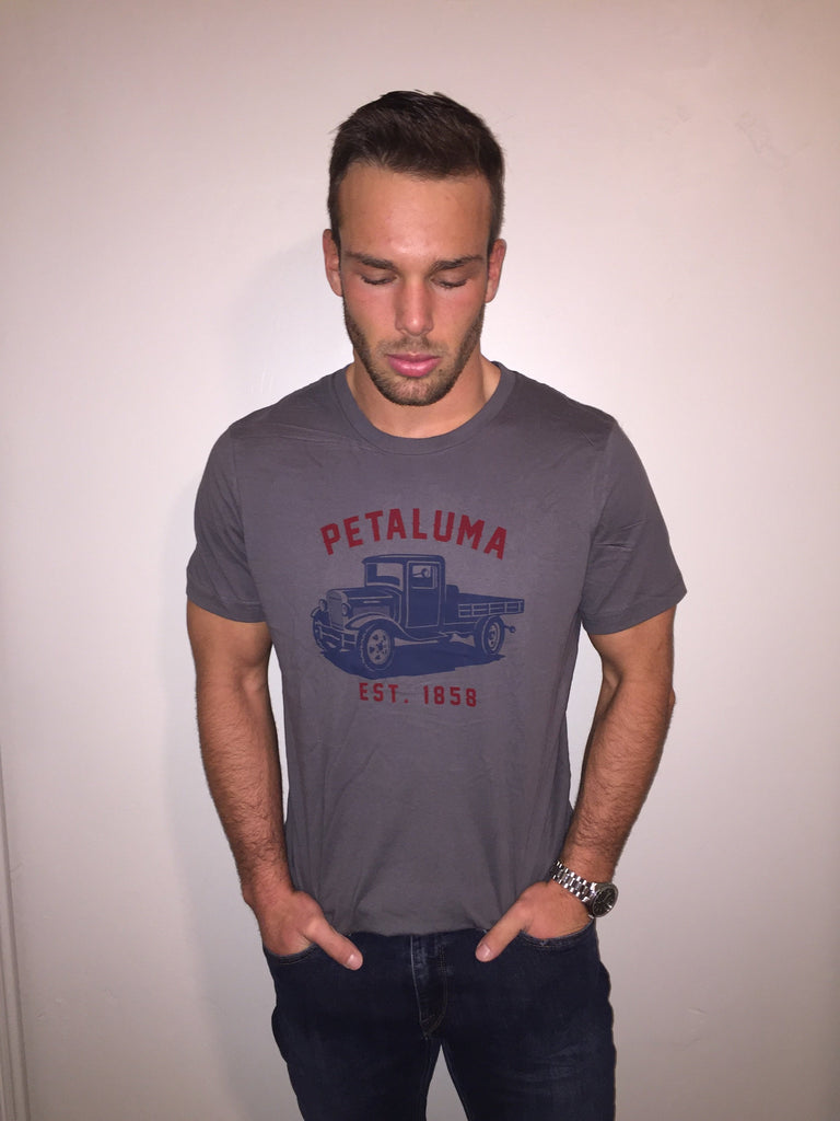 Men's T-shirt with Petaluma Truck logo in Asphalt