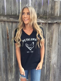 Women's Relaxed Jersey Short Sleeve V-Neck Tee in Black with Chicken Logo