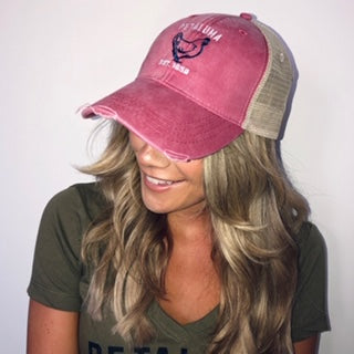 Luma Vintage Petaluma Chicken Distressed Trucker Hat, Coral