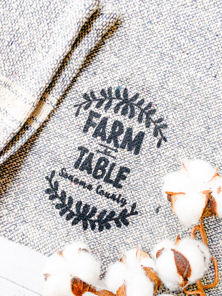 Luma Vintage Farm to Table Sonoma County Tea Towel - Blue Tweed