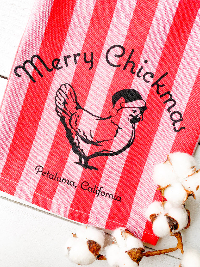 Luma Vintage Merry Chickmas Petaluma Tea Towel - Red/Mauve Thick Stripe
