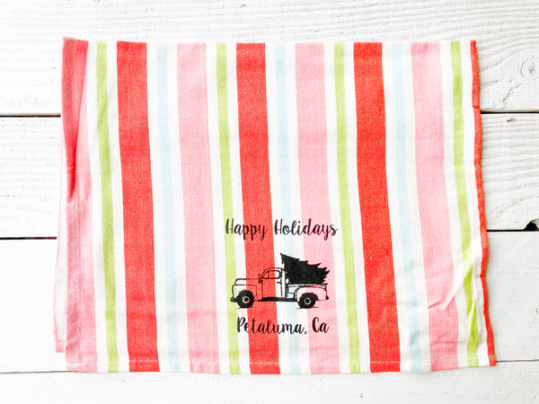 Luma Vintage Happy Holidays Petaluma Tea Towel -Candy Stripe