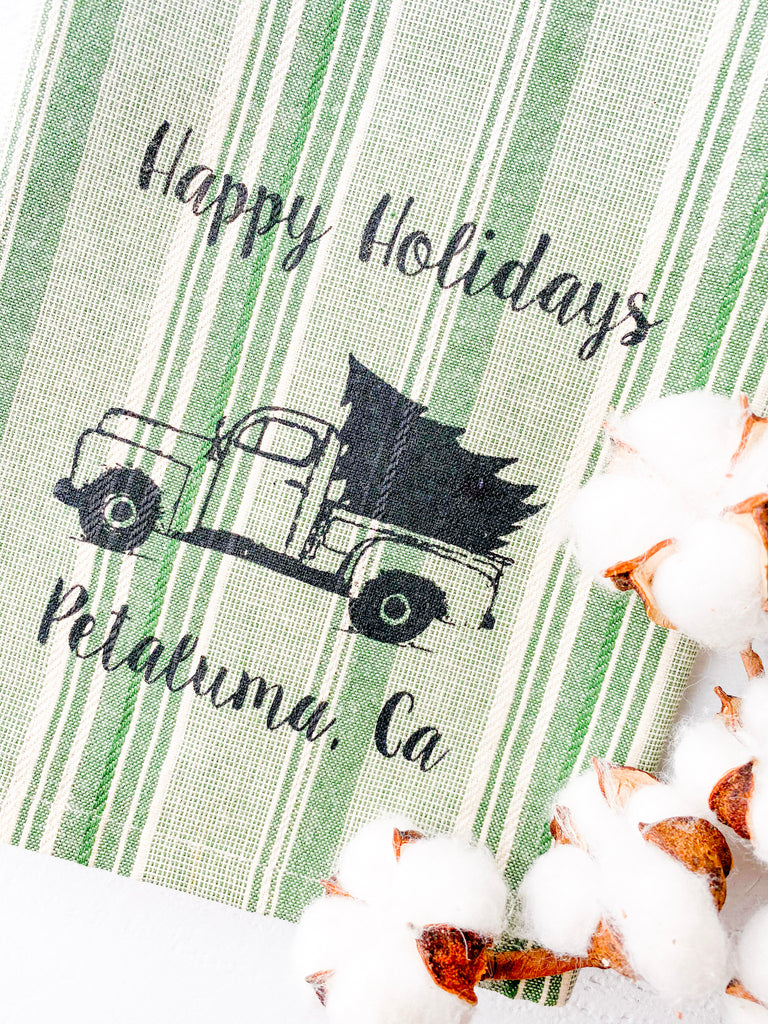 Luma Vintage Happy Holidays Petaluma Tea Towel - Green Multi- Stripe