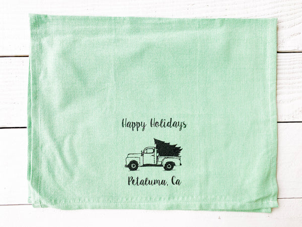Luma Vintage Happy Holidays Petaluma Tea Towel - Green