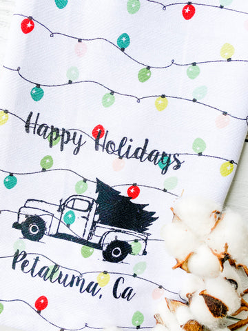 Luma Vintage Happy Holidays Petaluma Tea Towel -Holiday Lights