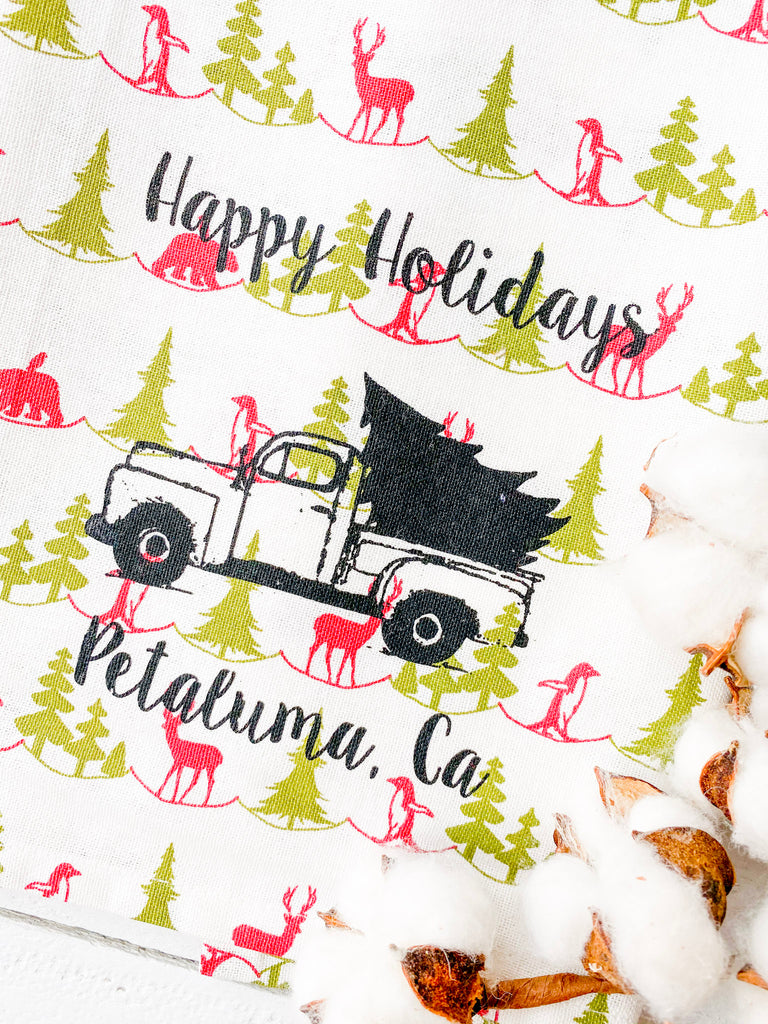 Luma Vintage Happy Holiday Petaluma Tea Towel - Polar Print