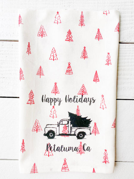 Luma Vintage Happy Holidays Petaluma Tea Towel - Red  Mulit Xmas Trees