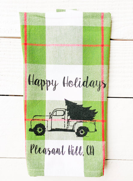Luma Vintage Happy Holidays Pleasant Hill Tea Towel- Xmas Plaid