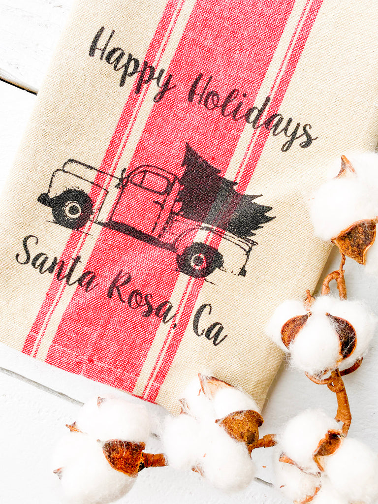 Luma Vintage Happy Holidays Santa Rosa Towel- Red French Stripe