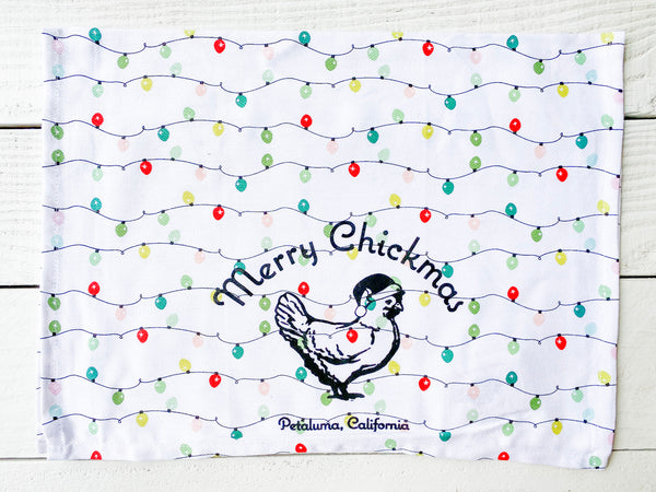 Luma Vintage Merry Chickmas Petaluma Tea Towel- Holiday LIghts