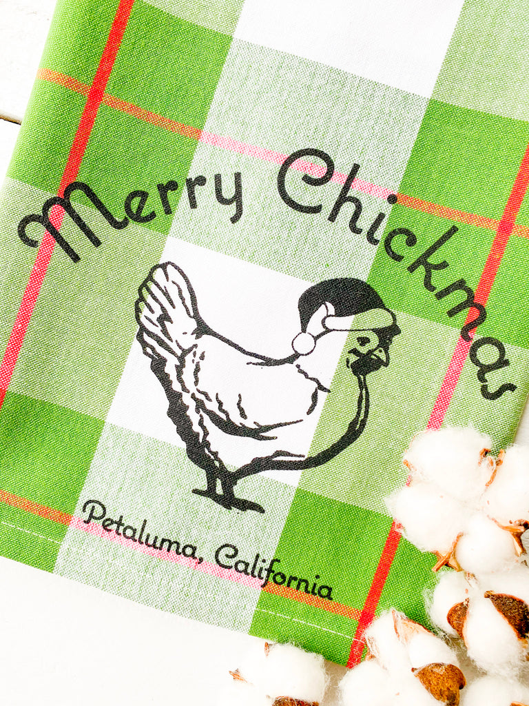 Luma Vintage Merry Chickmas Petaluma Tea Towel- Green Plaid