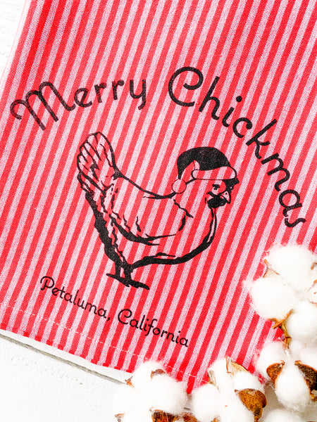 Luma Vintage Merry Chickmas Petaluma Tea Towel- Red/Mauve Thin Stripe
