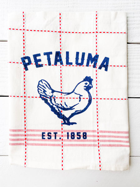 Luma Vintage Petaluma  Chicken Tea Towel - Red/Blue Plaid