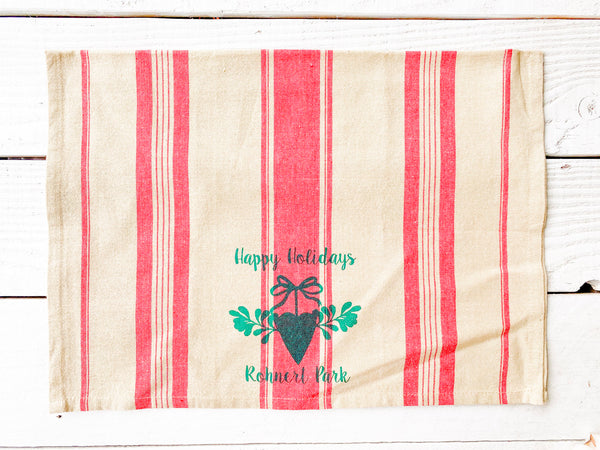 Luma Vintage Rohnert Park Happy Holidays Tea Towel-Red French Stripe