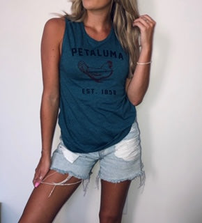 Luma Vintage Teal Blue Muscle Tee Chicken Top