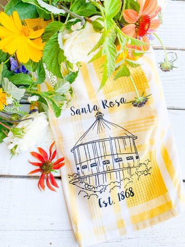 Luma Vintage Santa Rosa Round Barn Tea Towel- Yellow Plaid