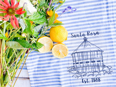 Luma Vintage Santa Rosa Round Barn Tea Towel- Blue and White Preppy Stripe