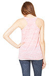 Women's Flowy Racerback Tank Red Marble with Luma Vintage Petaluma Chicken