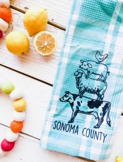 Luma Vintage Animal Stack Sonoma County Tea Towel- Teal