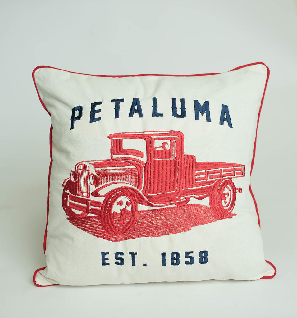 Embroidered Petaluma Red Truck Pillow Cover- As Seen in Country Living Magazine