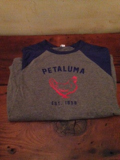 Unisex 3/4 Sleeve Baseball Tee with Chicken logo- Navy/Heather