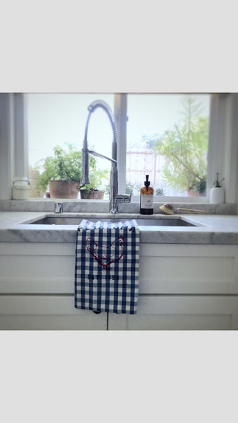 Gingham Blue Tea Towel with Luma Vintage Chicken