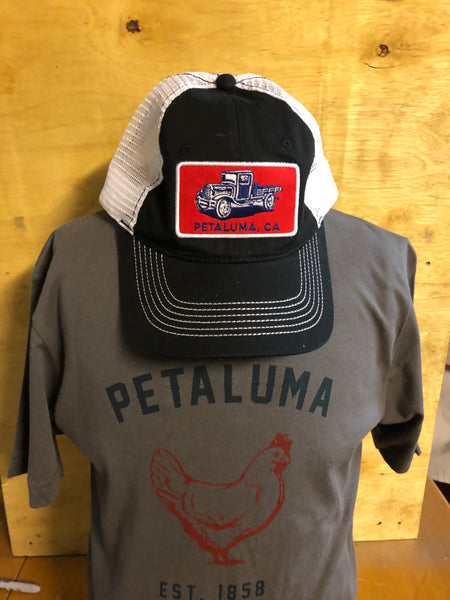 Black Luma Vintage Trucker Hat with Petaluma Truck Patch
