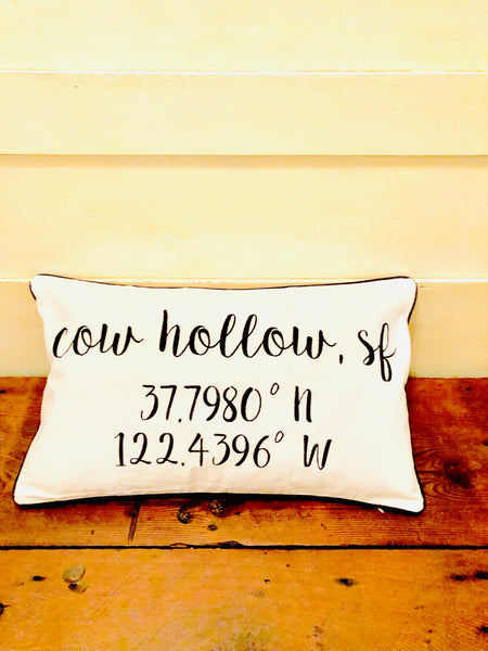 Cow Hollow Longitude Latitude Embroidered Lumbar Pillow Cover