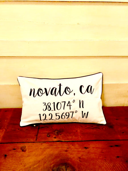 Novato Longitude Latitude Embroidered Lumbar Pillow Cover