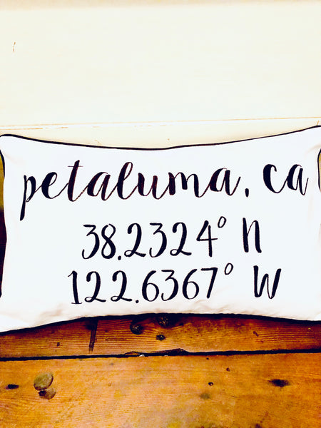 Petaluma Longitude Latitude Embroidered Lumbar Pillow Cover