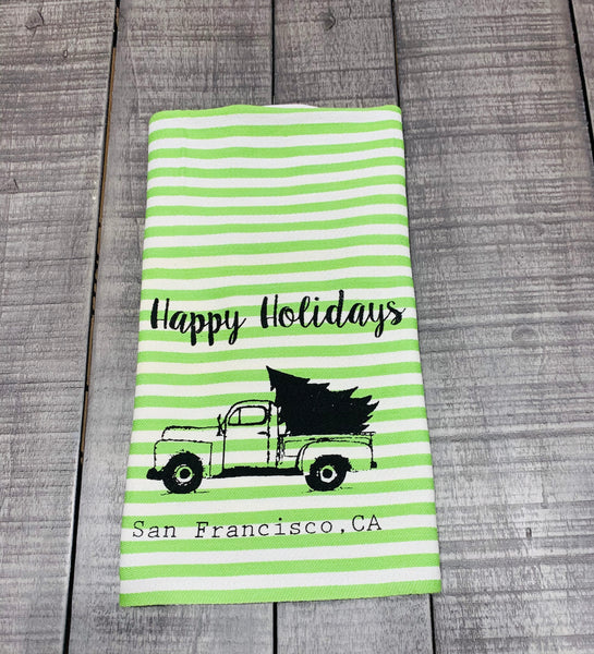 Luma Vintage Happy Holidays San Francisco Tea Towel - Green Stripe